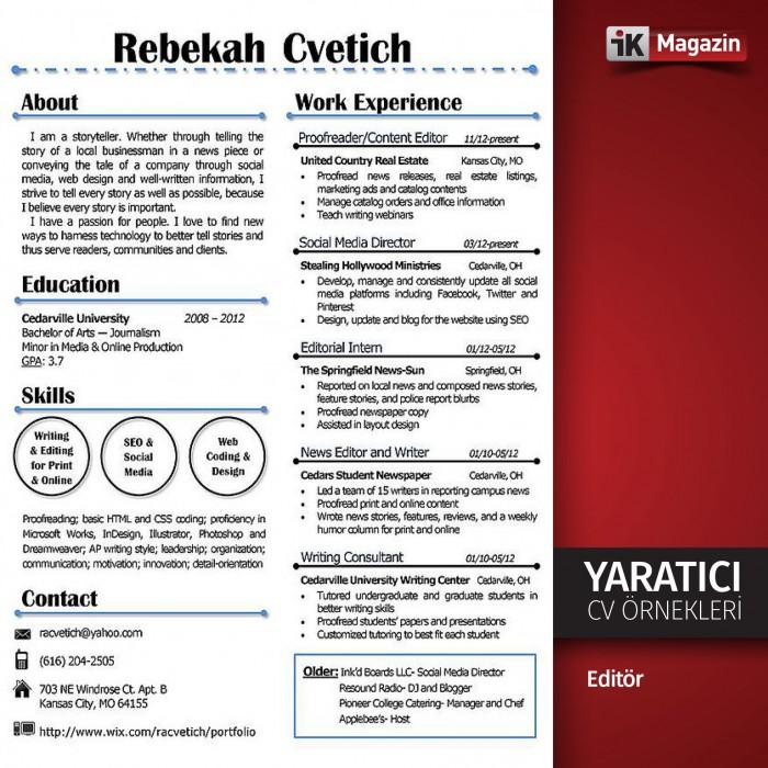 Yaratıcı CV Örnekleri